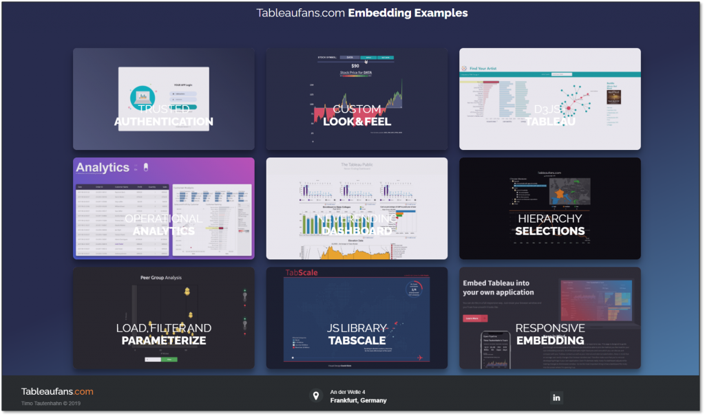 The image shows a gallery of Tableau Javascript API / Embedding API examples. Feel free to download and customize them to your very own needs. The dashboards can be downloaded on Tableau Public, too.